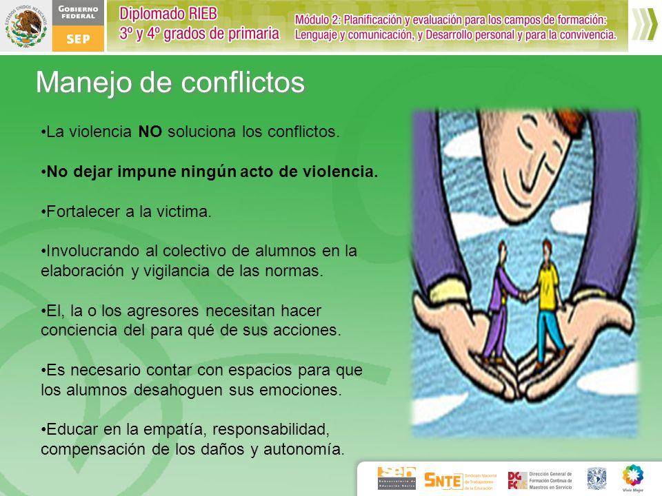 Manejo de conflictos La violencia NO soluciona los conflictos.