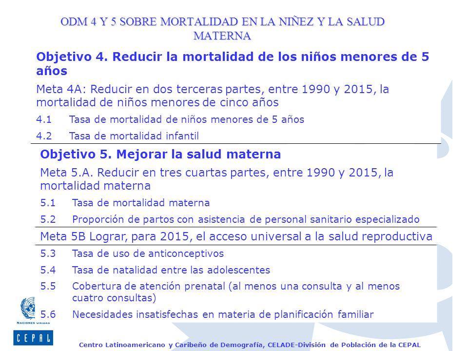 ODM 4 Y 5 SOBRE MORTALIDAD EN LA NIÑEZ Y LA SALUD MATERNA