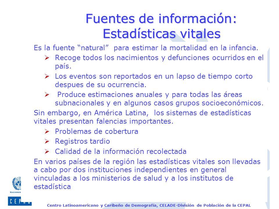 Fuentes de información: Estadísticas vitales