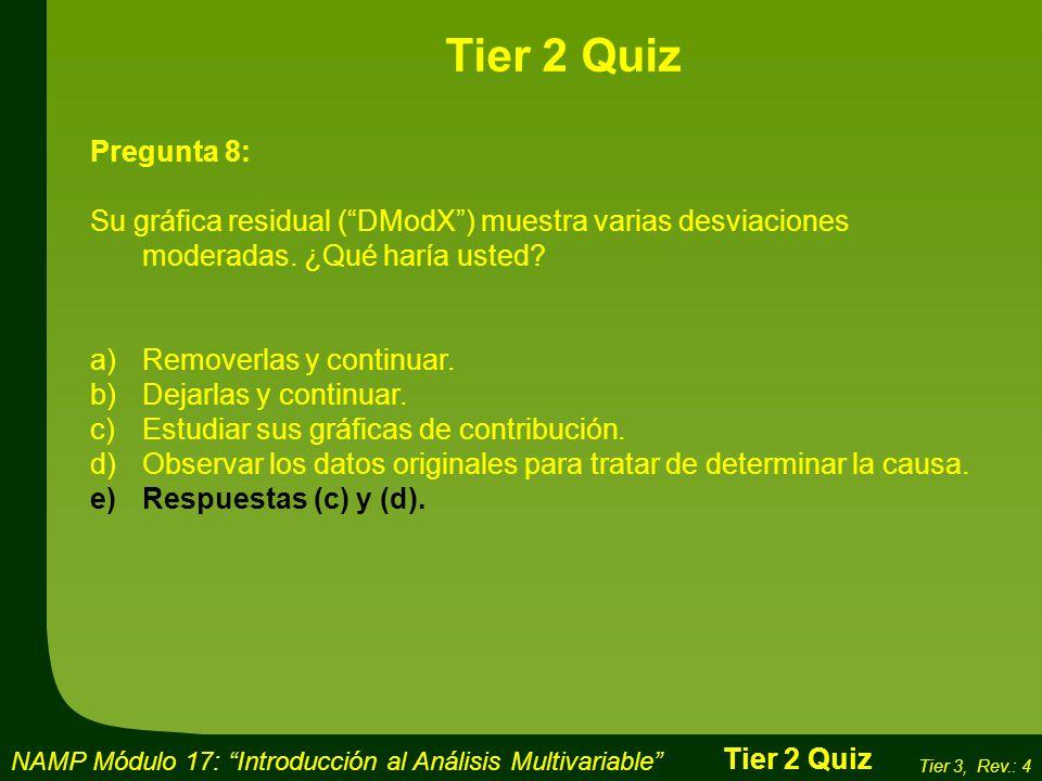 Tier 2 Quiz Pregunta 8: Su gráfica residual ( DModX ) muestra varias desviaciones moderadas. ¿Qué haría usted