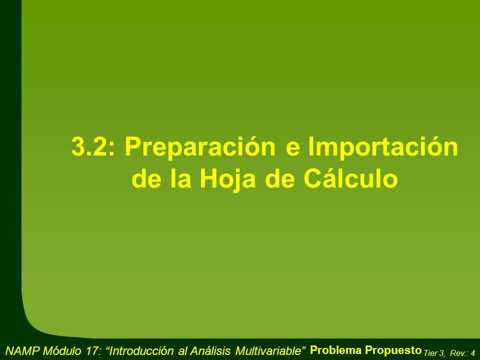 3.2: Preparación e Importación de la Hoja de Cálculo