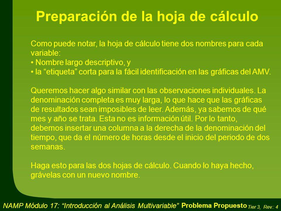Preparación de la hoja de cálculo