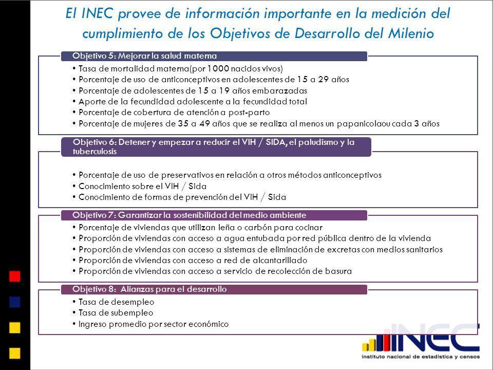 El INEC provee de información importante en la medición del cumplimiento de los Objetivos de Desarrollo del Milenio