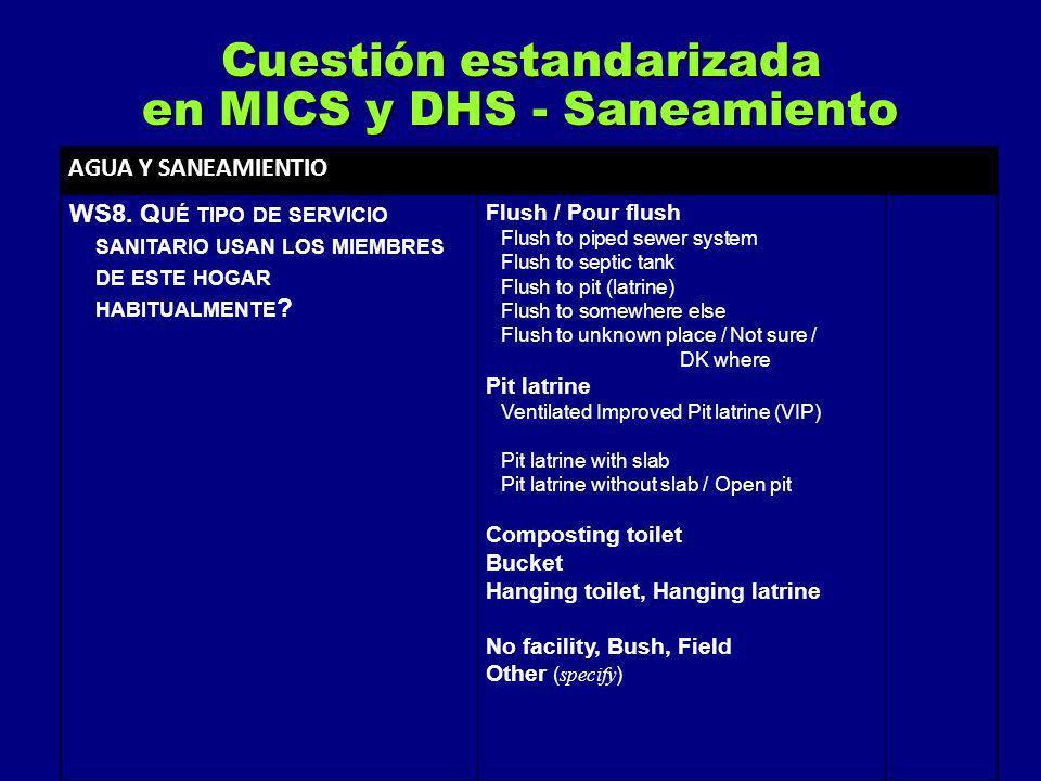 Cuestión estandarizada en MICS y DHS - Saneamiento