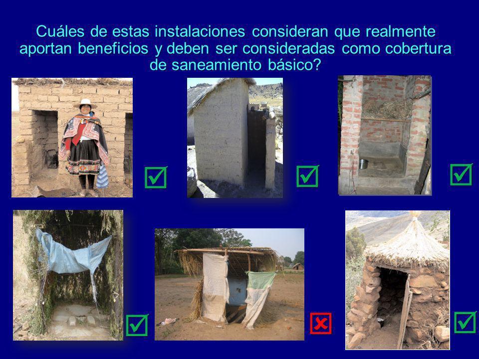 Cuáles de estas instalaciones consideran que realmente aportan beneficios y deben ser consideradas como cobertura de saneamiento básico
