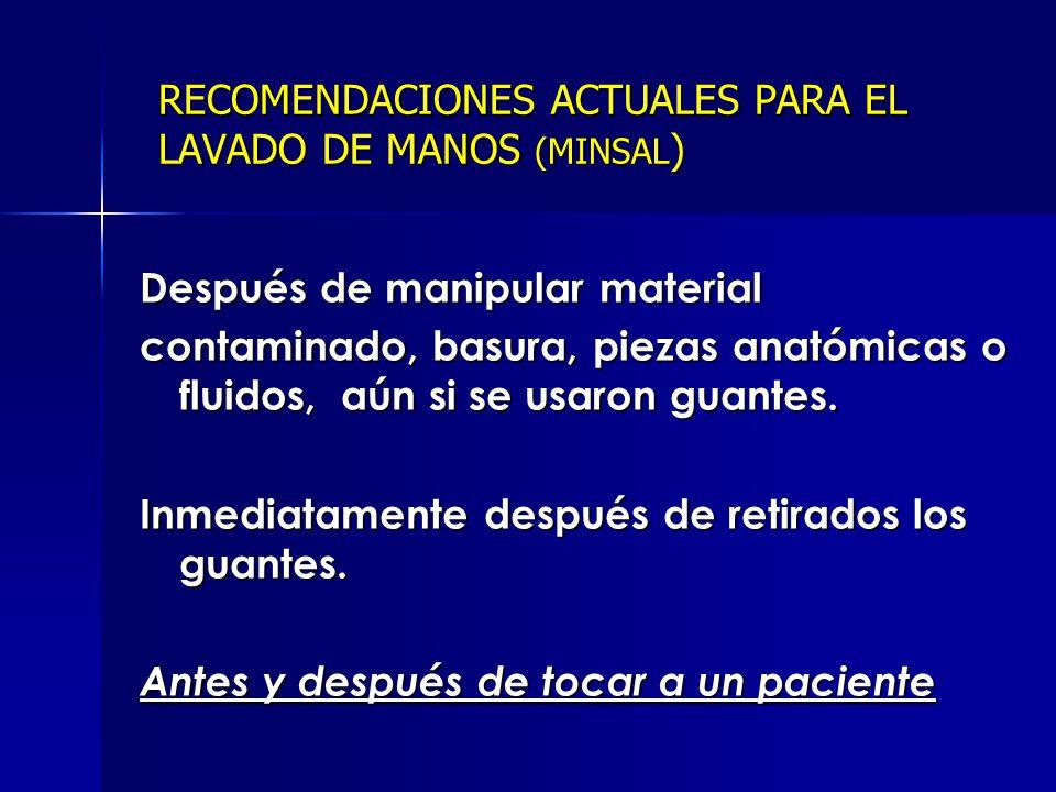 RECOMENDACIONES ACTUALES PARA EL LAVADO DE MANOS (MINSAL)