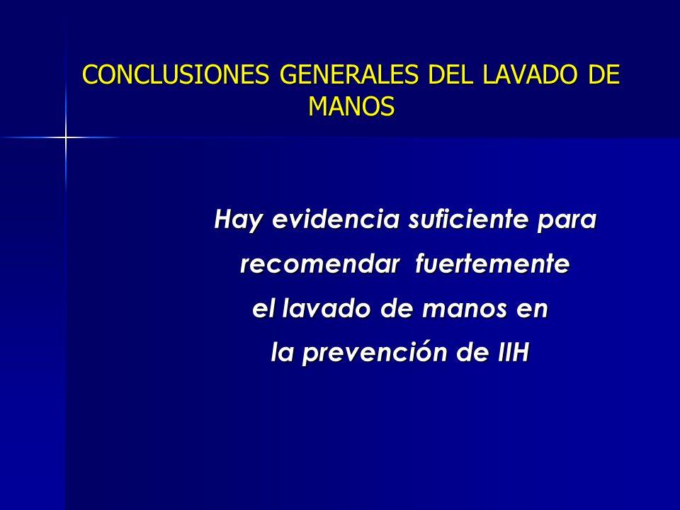 CONCLUSIONES GENERALES DEL LAVADO DE MANOS