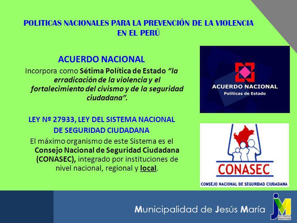 POLITICAS NACIONALES PARA LA PREVENCIÓN DE LA VIOLENCIA EN EL PERÚ