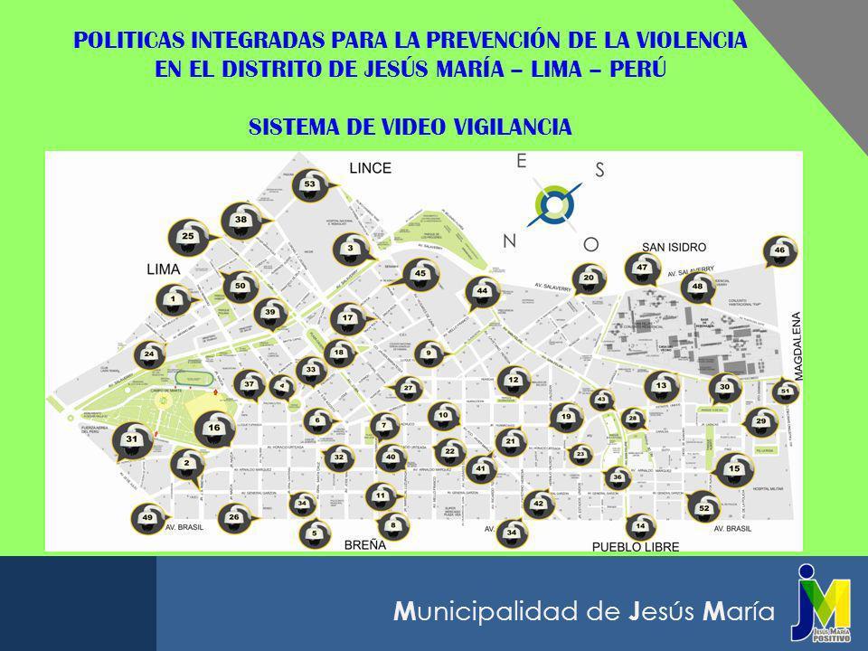 POLITICAS INTEGRADAS PARA LA PREVENCIÓN DE LA VIOLENCIA EN EL DISTRITO DE JESÚS MARÍA – LIMA – PERÚ SISTEMA DE VIDEO VIGILANCIA