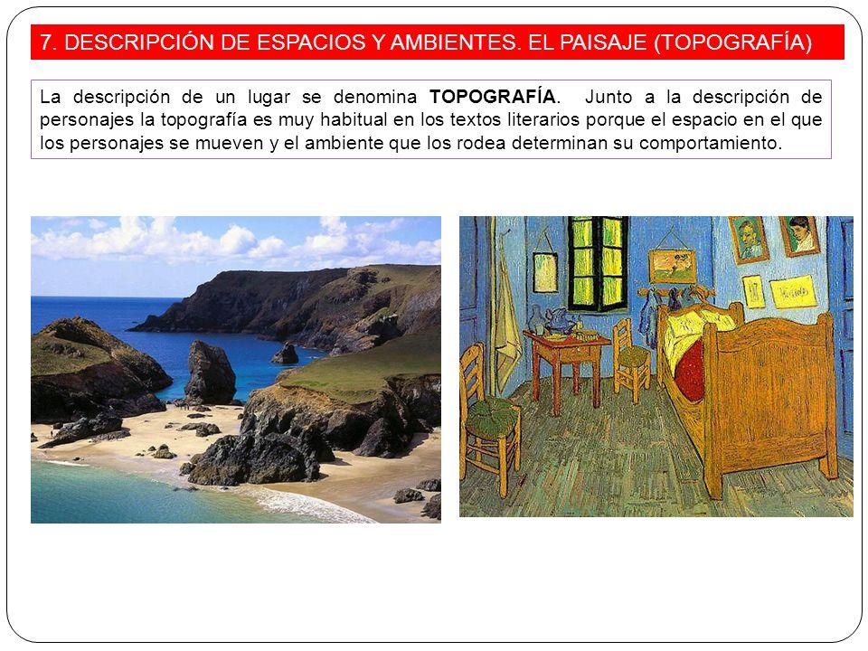 7. DESCRIPCIÓN DE ESPACIOS Y AMBIENTES. EL PAISAJE (TOPOGRAFÍA)