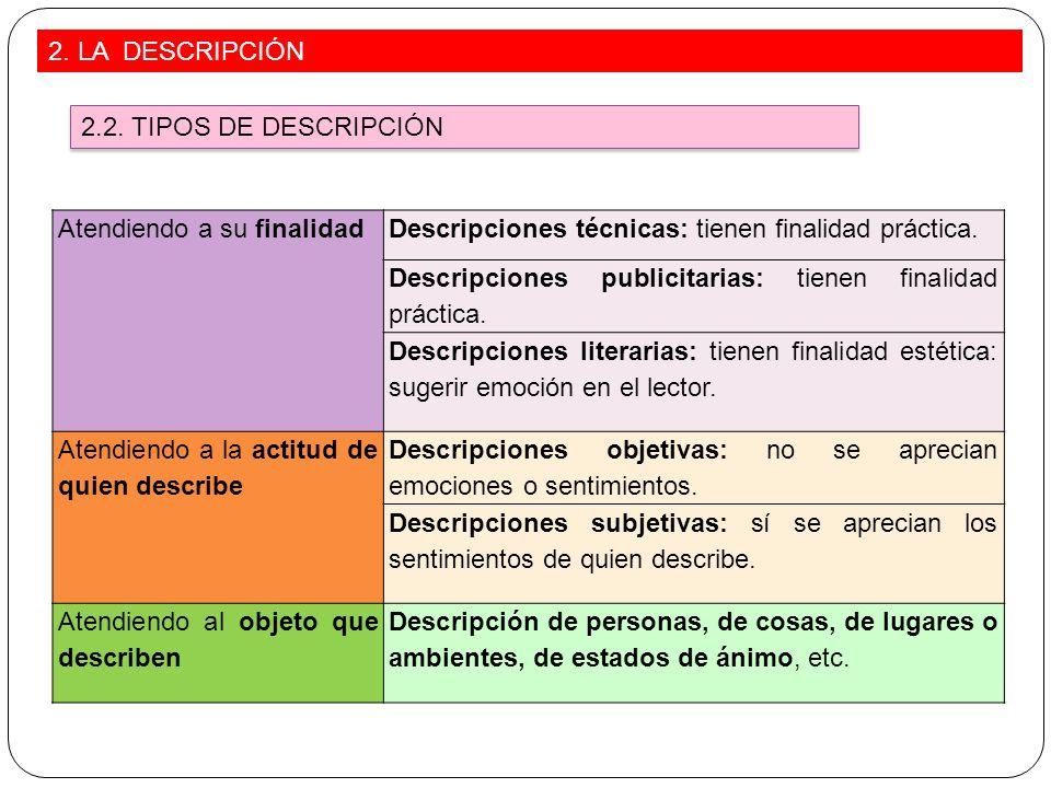 2. LA DESCRIPCIÓN 2.2. TIPOS DE DESCRIPCIÓN. Atendiendo a su finalidad. Descripciones técnicas: tienen finalidad práctica.