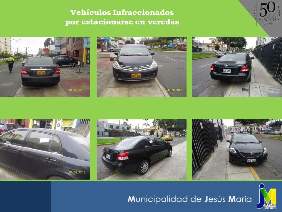 Vehículos Infraccionados por estacionarse en veredas