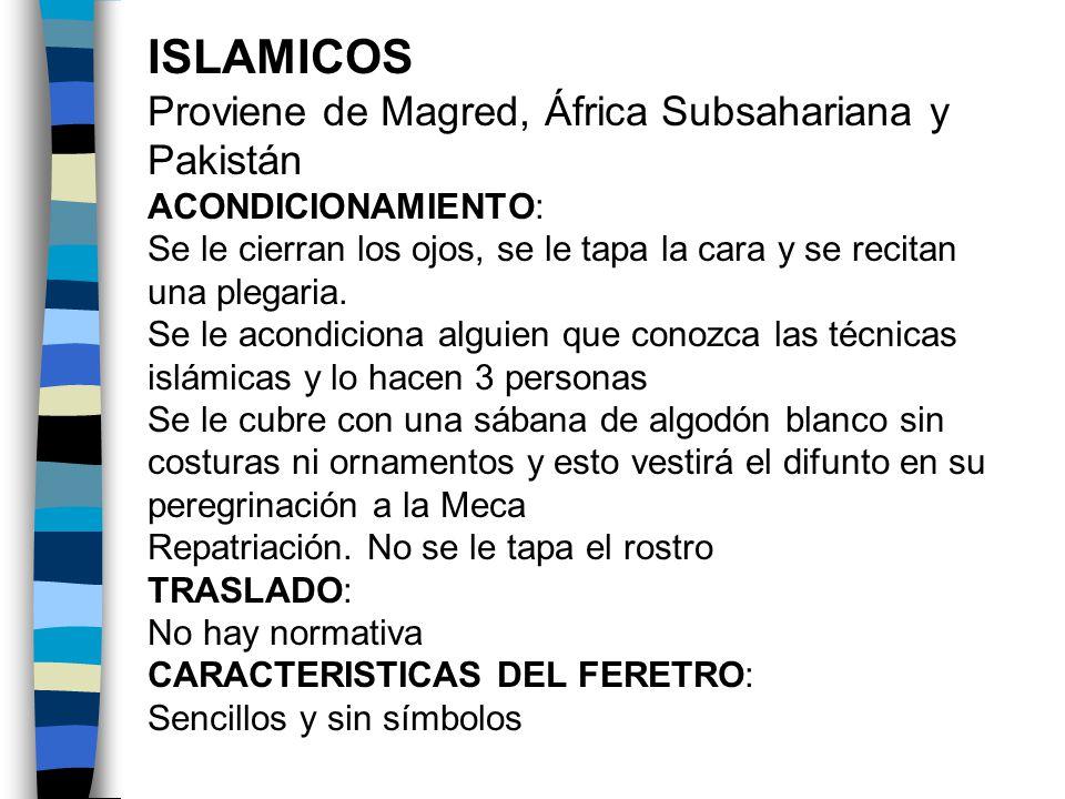 ISLAMICOS Proviene de Magred, África Subsahariana y Pakistán ACONDICIONAMIENTO: Se le cierran los ojos, se le tapa la cara y se recitan una plegaria.