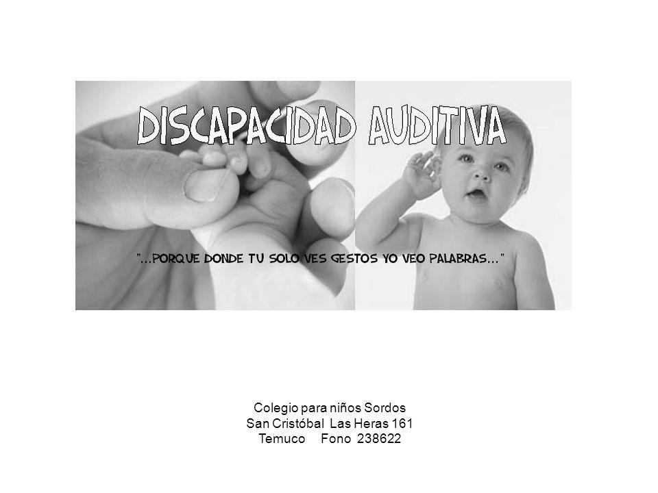 Colegio para niños Sordos San Cristóbal Las Heras 161 Temuco Fono 238622