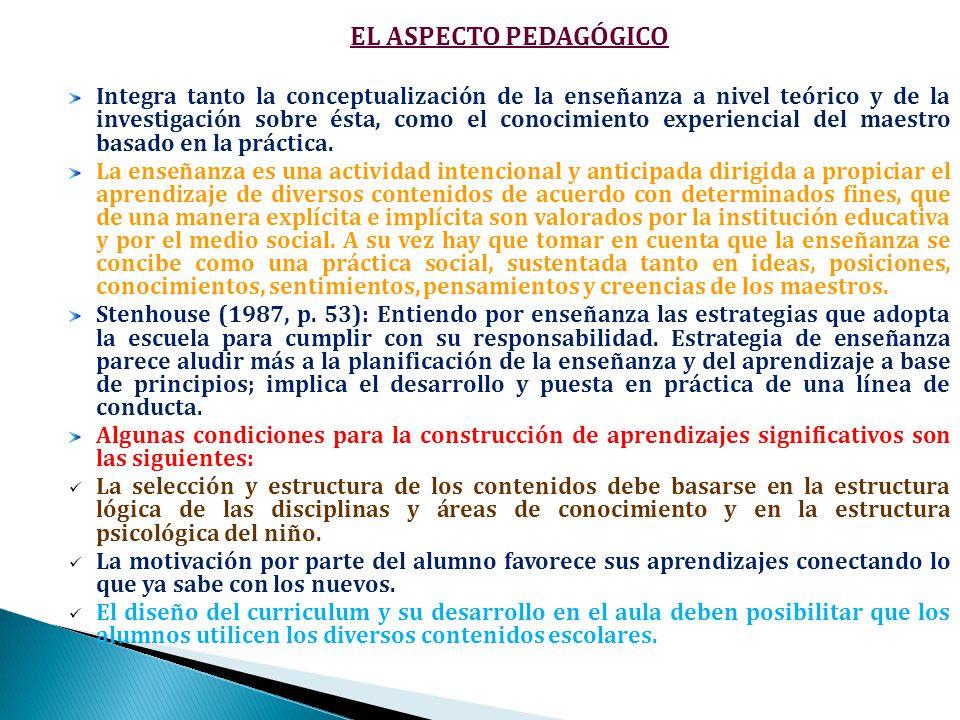 EL ASPECTO PEDAGÓGICO