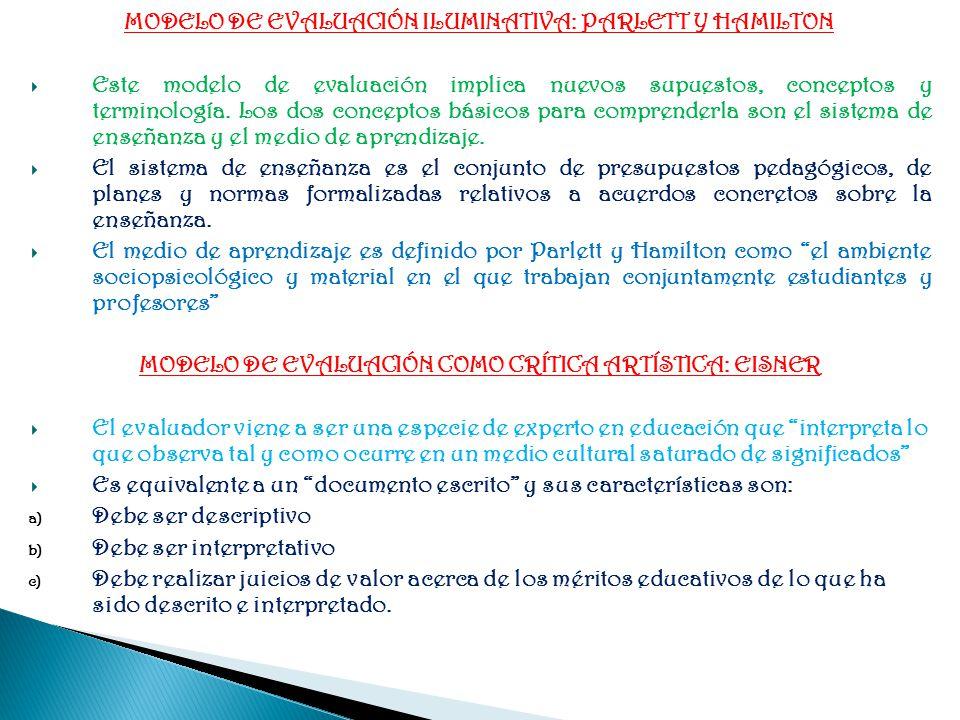 MODELO DE EVALUACIÓN ILUMINATIVA: PARLETT Y HAMILTON