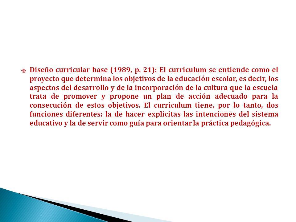 Diseño curricular base (1989, p