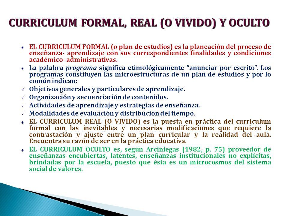 CURRICULUM FORMAL, REAL (O VIVIDO) Y OCULTO