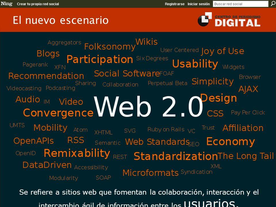 El nuevo escenario Se refiere a sitios web que fomentan la colaboración, interacción y el intercambio ágil de información entre los usuarios.