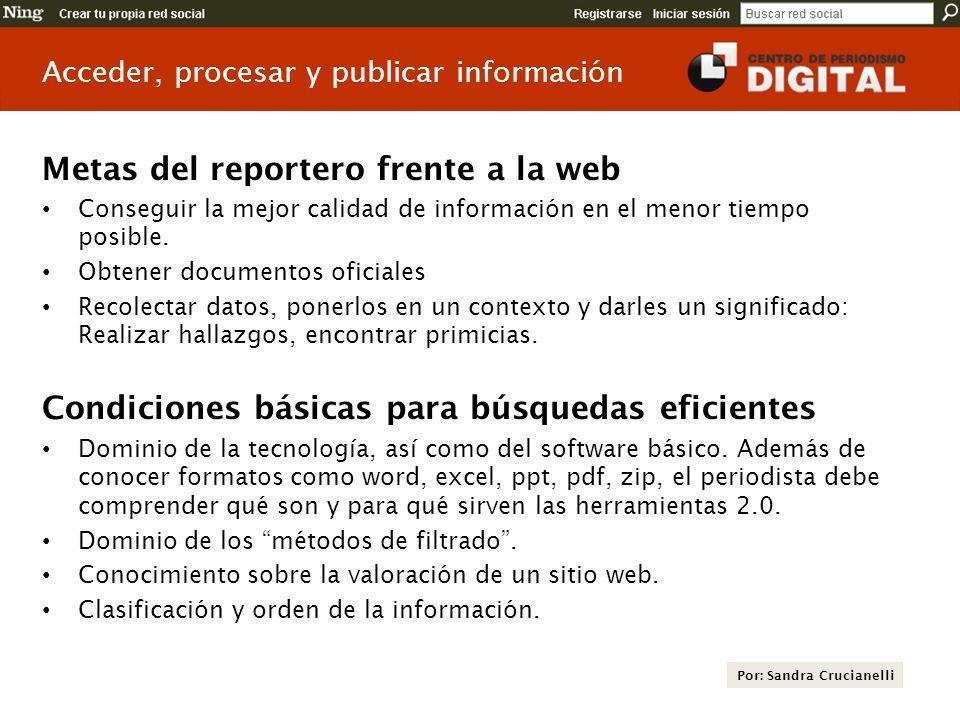 Metas del reportero frente a la web
