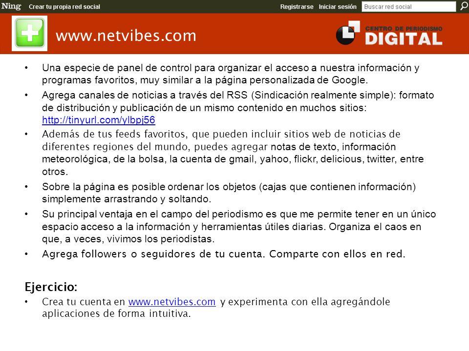 www.netvibes.com Ejercicio: