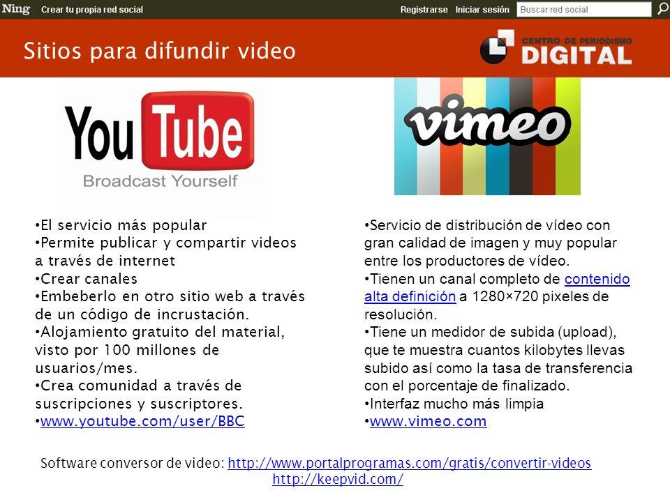 Sitios para difundir video