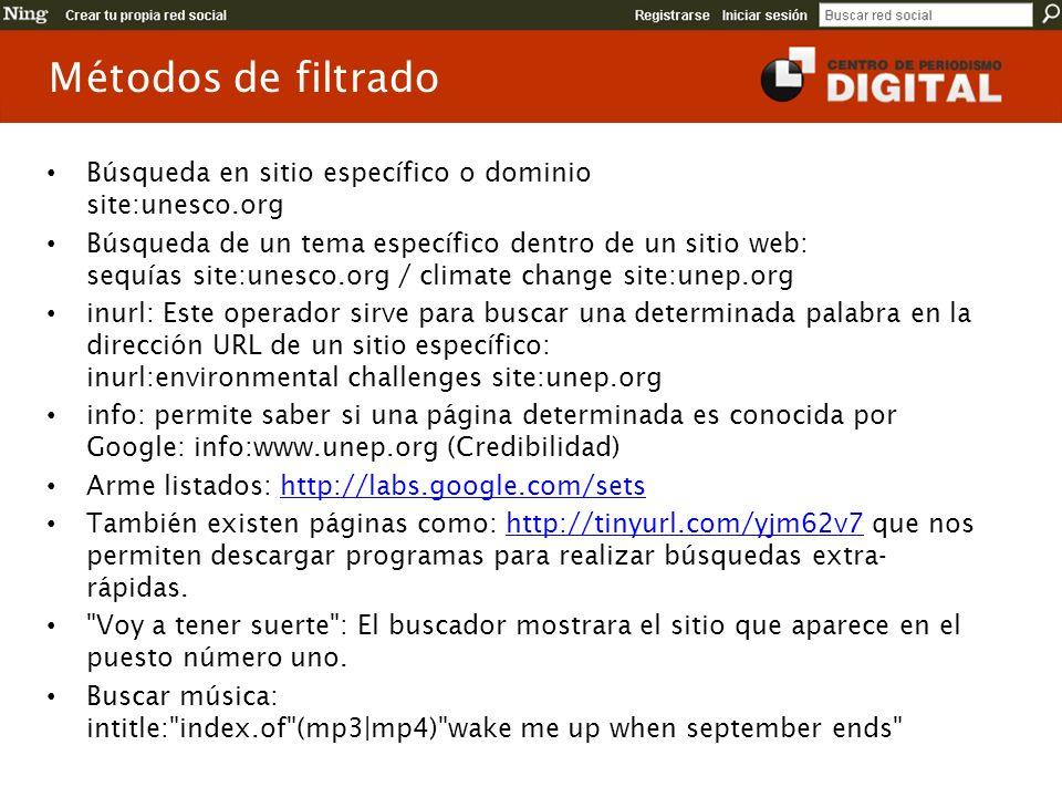 Métodos de filtrado Búsqueda en sitio específico o dominio site:unesco.org.