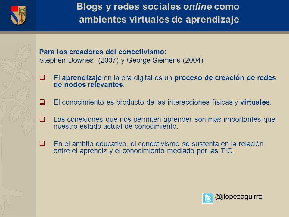 Blogs y redes sociales online como ambientes virtuales de aprendizaje