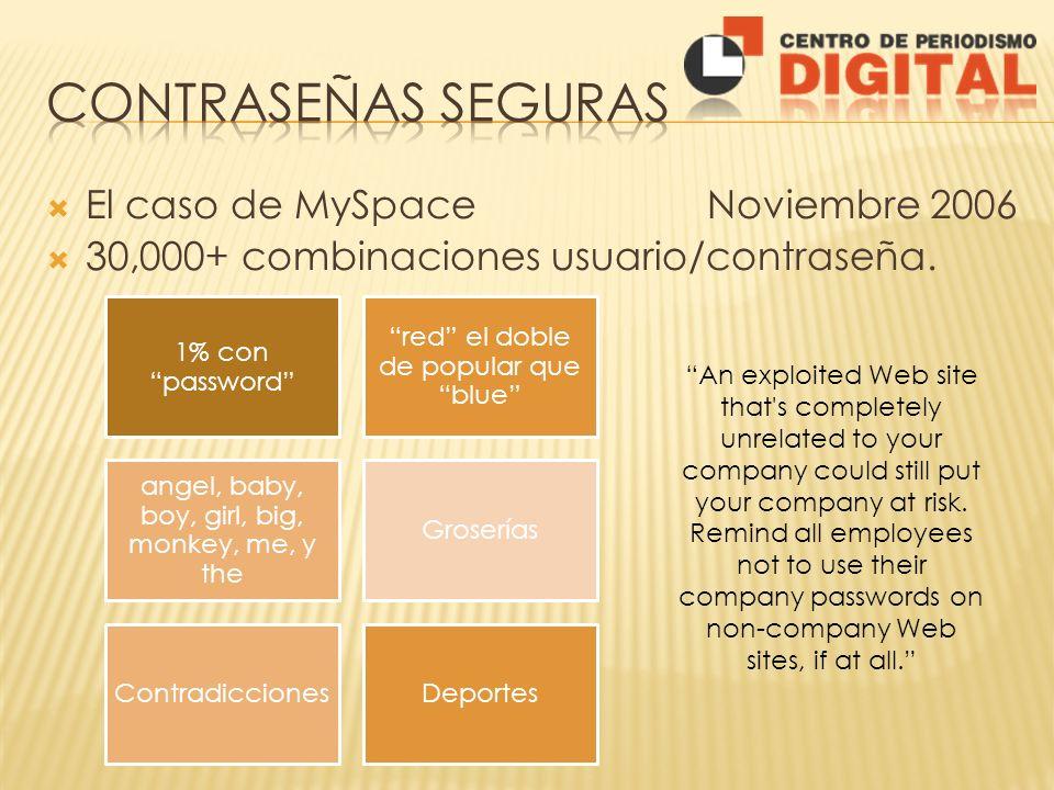 Contraseñas seguras El caso de MySpace Noviembre 2006