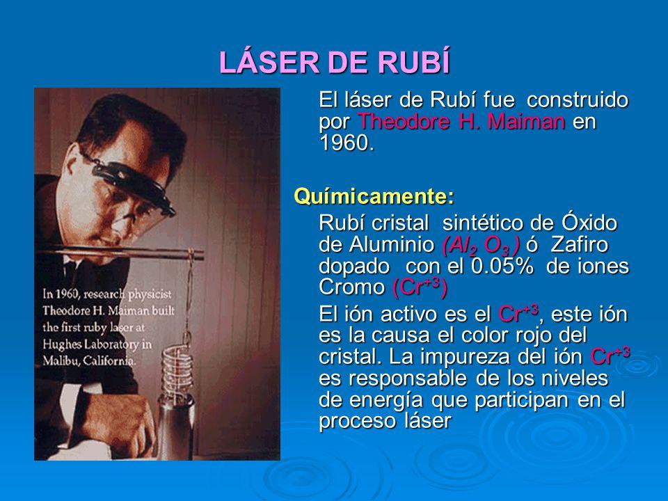 LÁSER DE RUBÍ El láser de Rubí fue construido por Theodore H. Maiman en 1960. Químicamente: