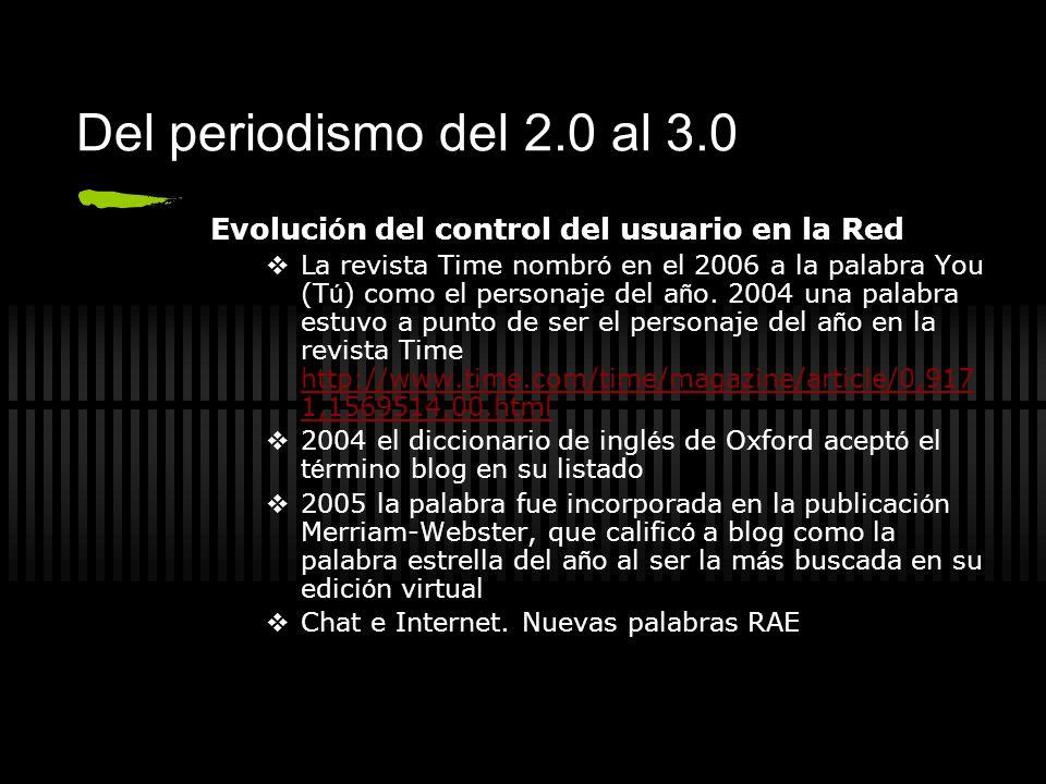 Del periodismo del 2.0 al 3.0 Evolución del control del usuario en la Red.