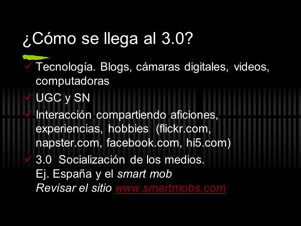 ¿Cómo se llega al 3.0 Tecnología. Blogs, cámaras digitales, videos, computadoras. UGC y SN.