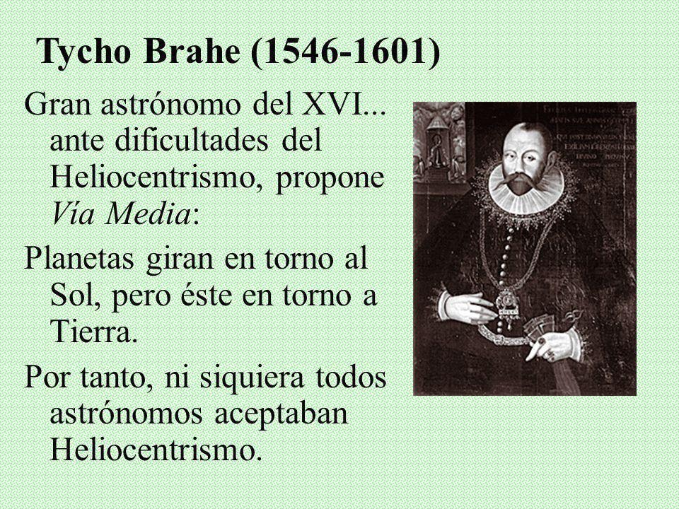 Tycho Brahe (1546-1601)Gran astrónomo del XVI... ante dificultades del Heliocentrismo, propone Vía Media: