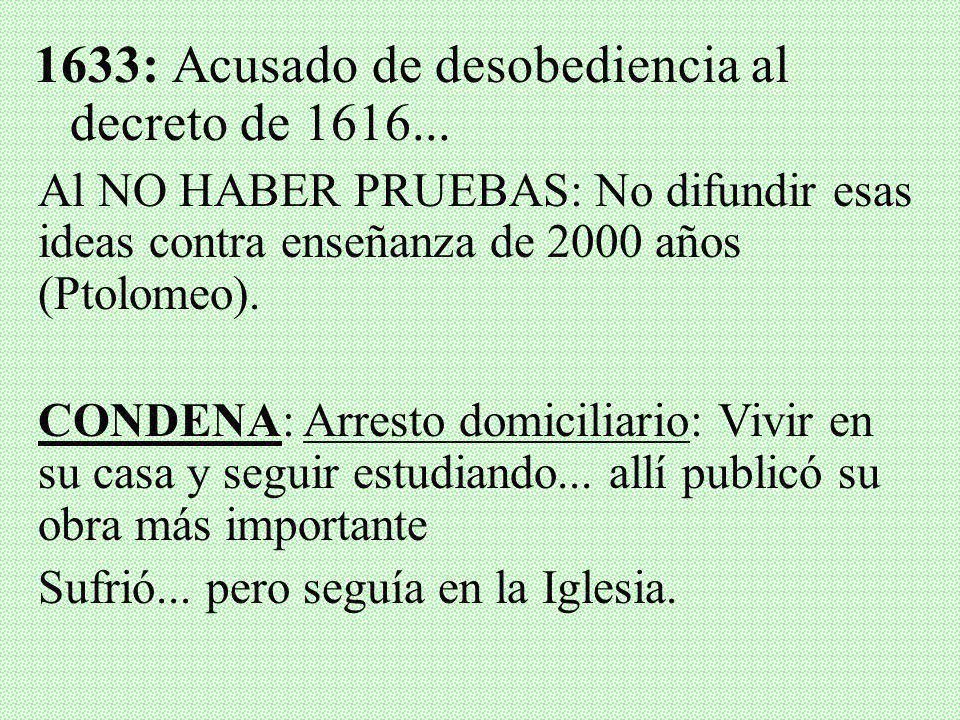 1633: Acusado de desobediencia al decreto de 1616...