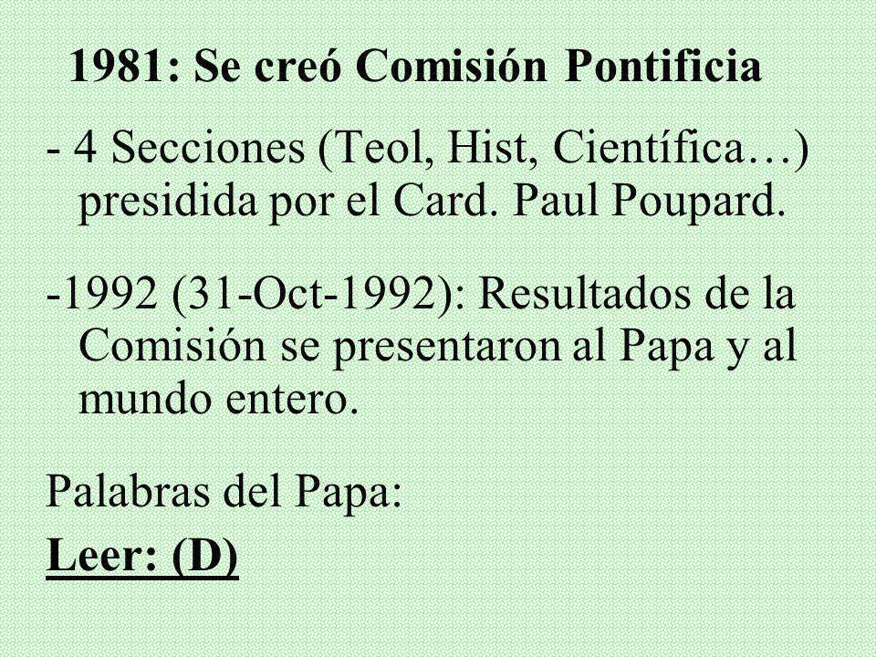 1981: Se creó Comisión Pontificia