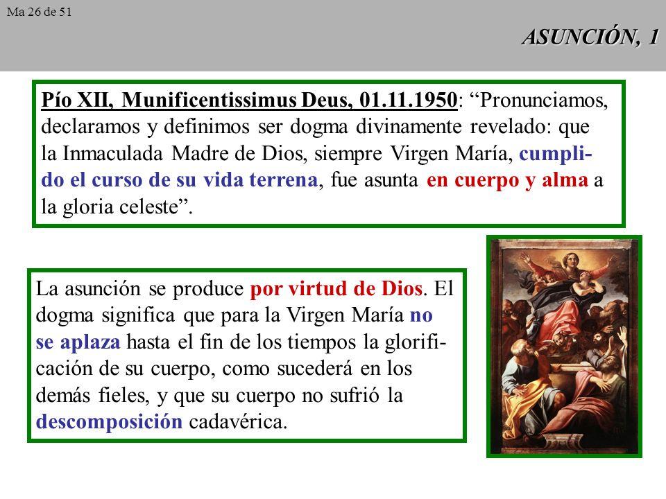 Pío XII, Munificentissimus Deus, 01.11.1950: Pronunciamos,