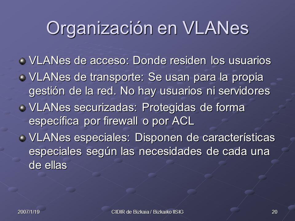 Organización en VLANes
