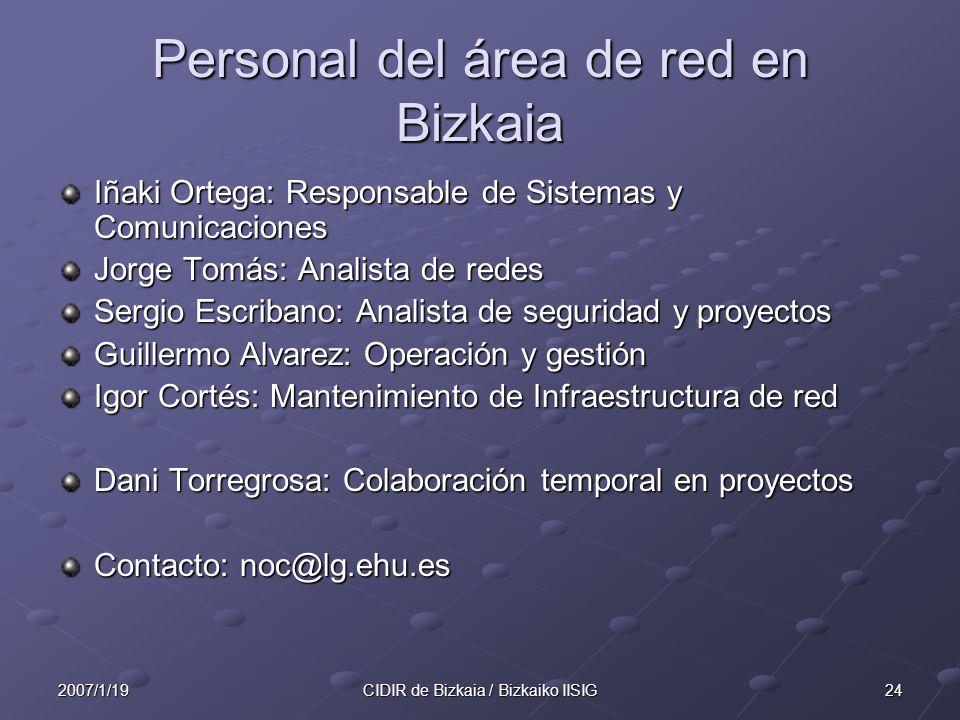Personal del área de red en Bizkaia