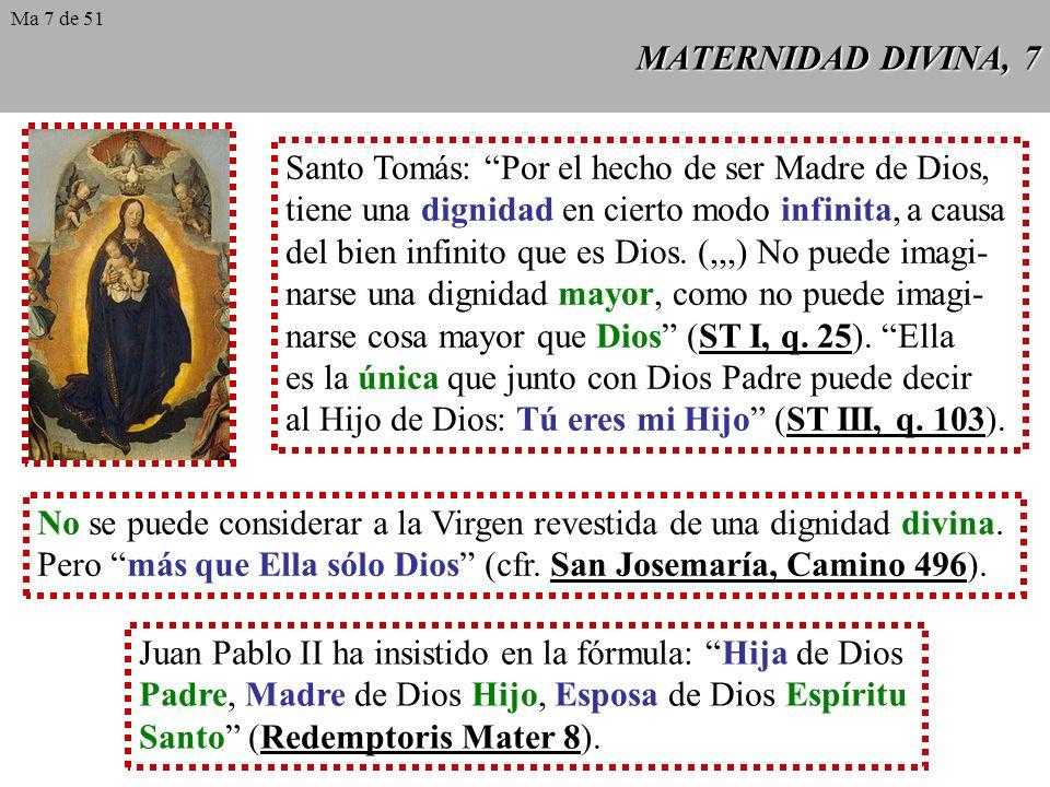 Santo Tomás: Por el hecho de ser Madre de Dios,
