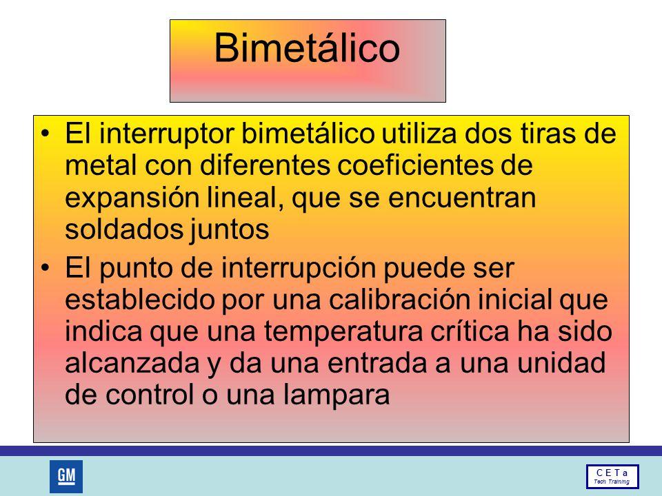 Bimetálico El interruptor bimetálico utiliza dos tiras de metal con diferentes coeficientes de expansión lineal, que se encuentran soldados juntos.