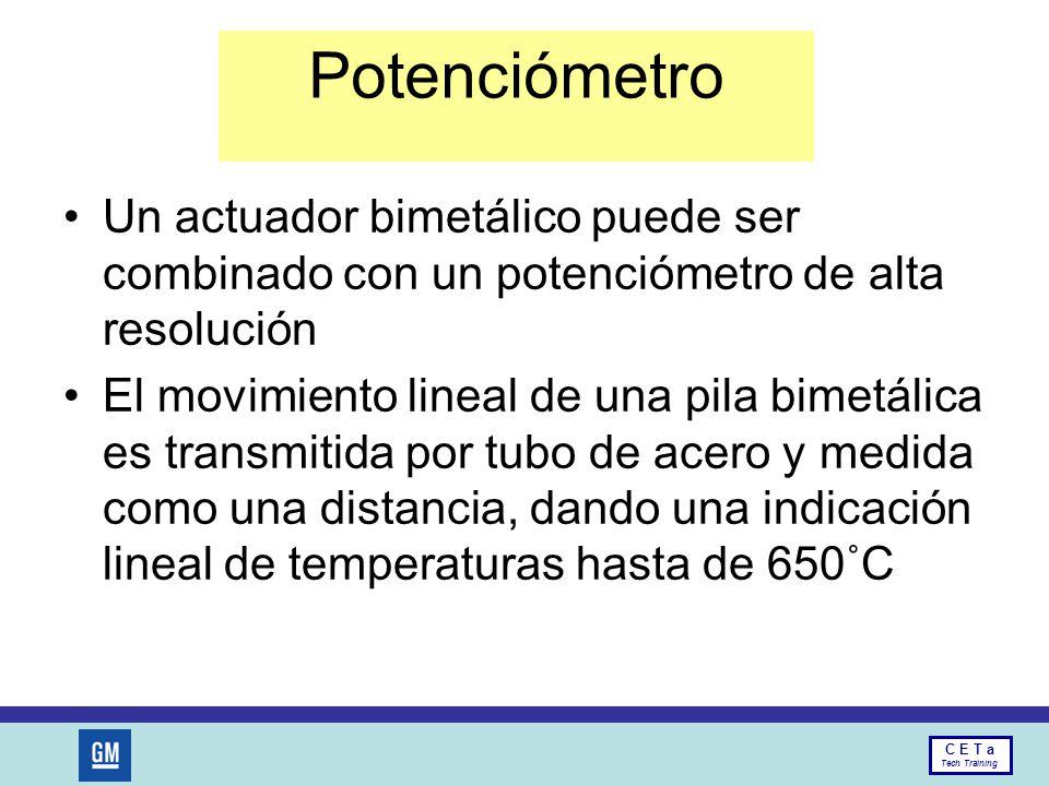 Potenciómetro Un actuador bimetálico puede ser combinado con un potenciómetro de alta resolución.