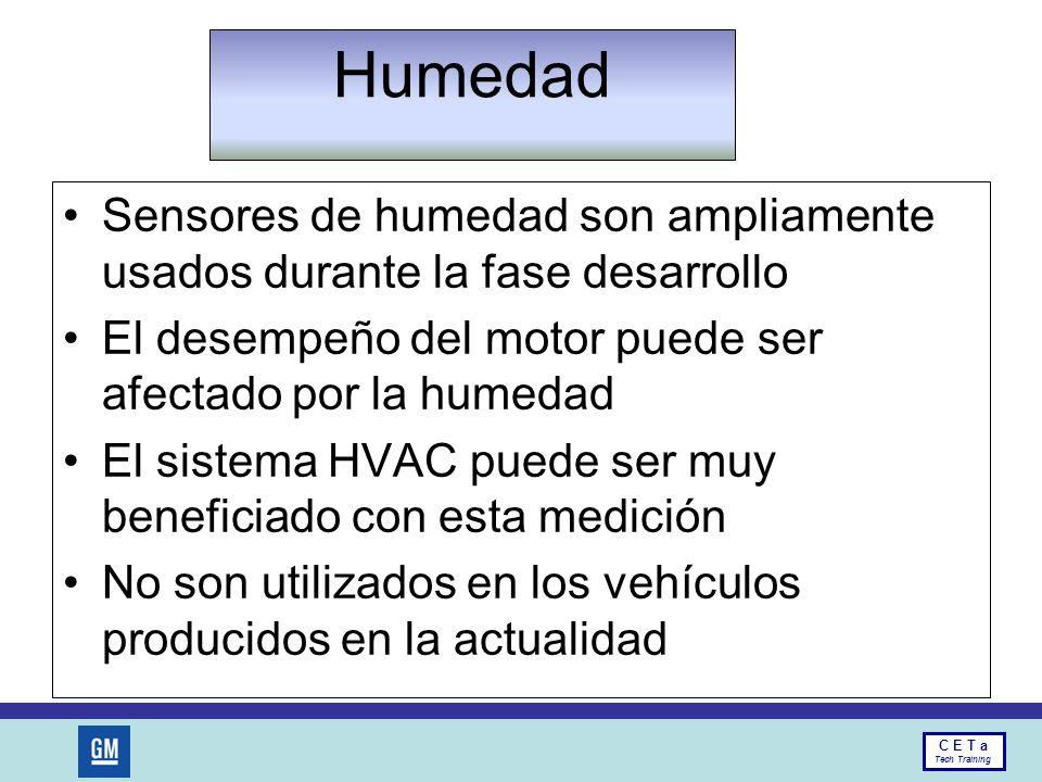 Humedad Sensores de humedad son ampliamente usados durante la fase desarrollo. El desempeño del motor puede ser afectado por la humedad.