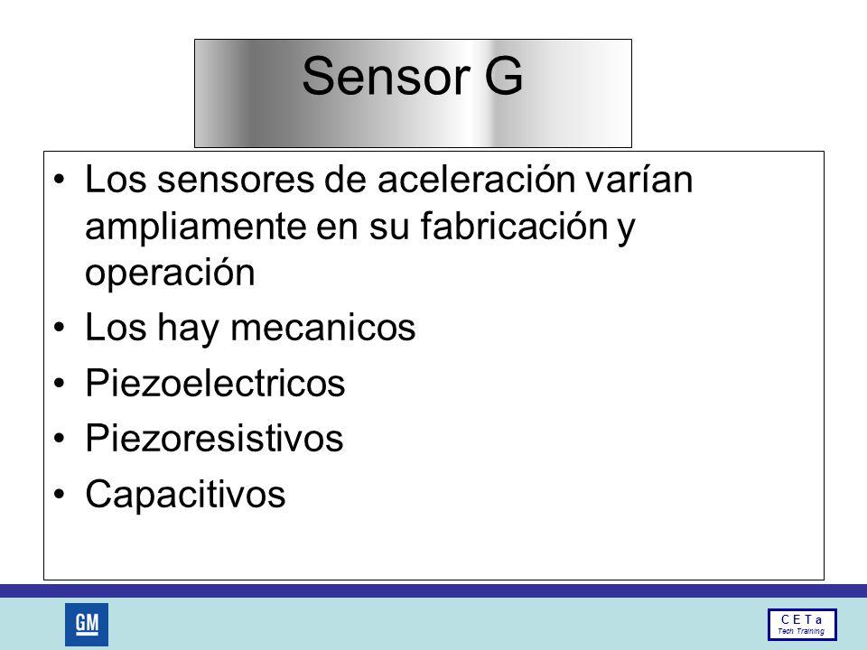 Sensor G Los sensores de aceleración varían ampliamente en su fabricación y operación. Los hay mecanicos.