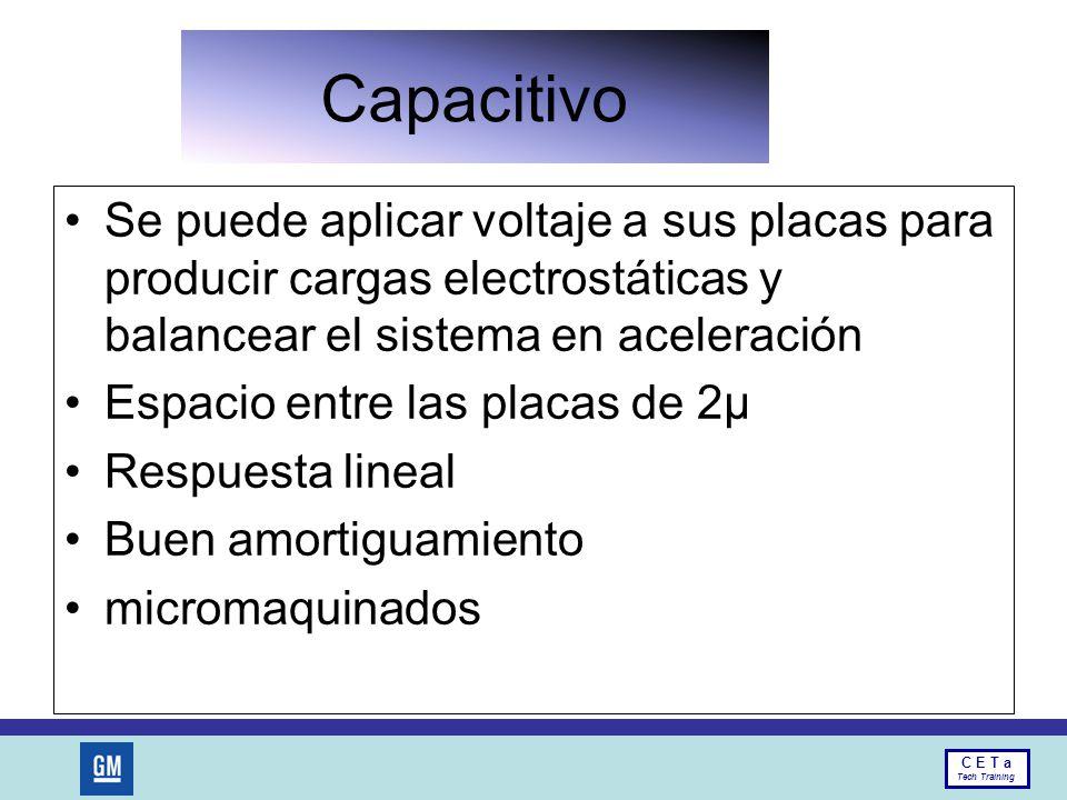 Capacitivo Se puede aplicar voltaje a sus placas para producir cargas electrostáticas y balancear el sistema en aceleración.