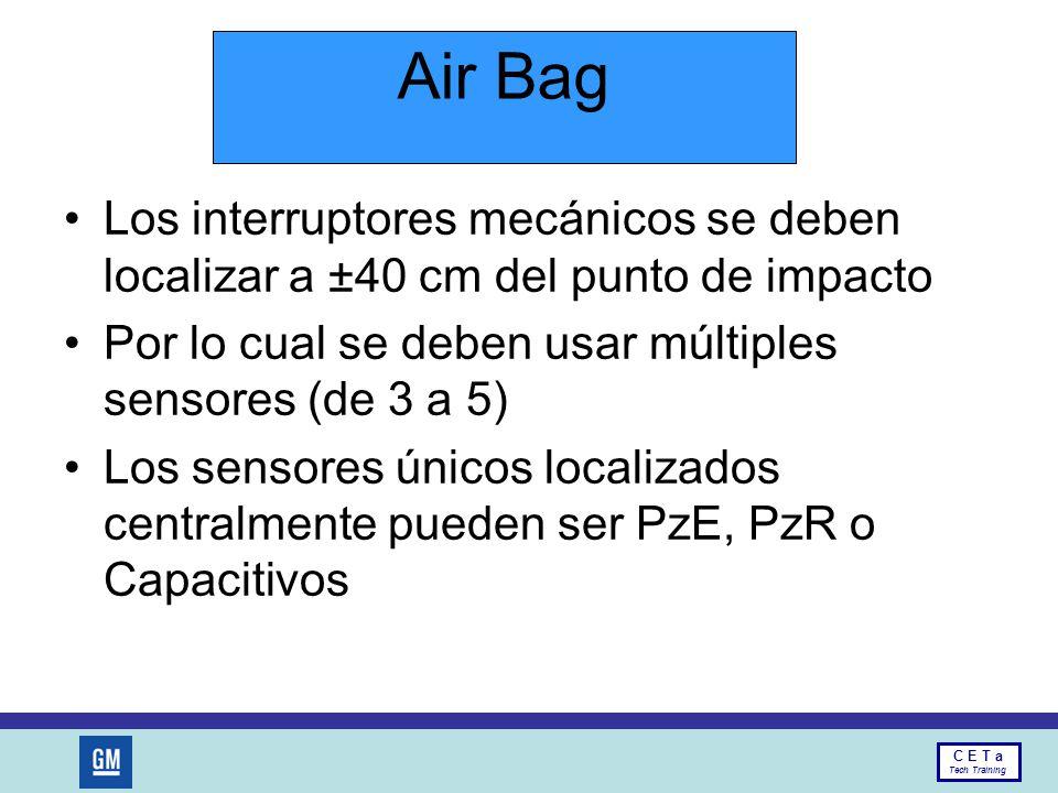 Air Bag Los interruptores mecánicos se deben localizar a ±40 cm del punto de impacto. Por lo cual se deben usar múltiples sensores (de 3 a 5)
