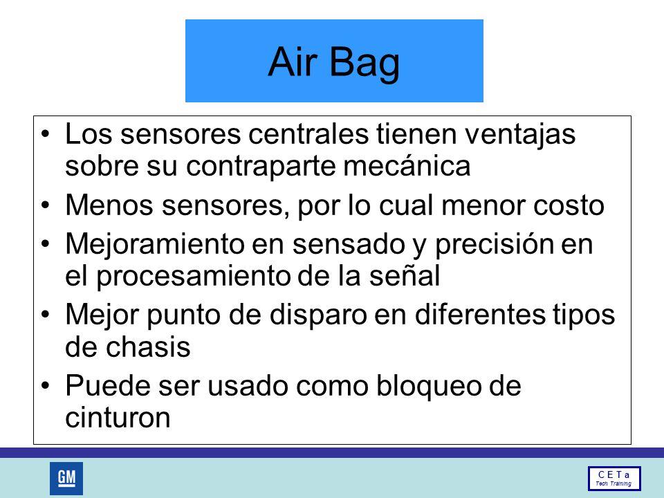 Air Bag Los sensores centrales tienen ventajas sobre su contraparte mecánica. Menos sensores, por lo cual menor costo.