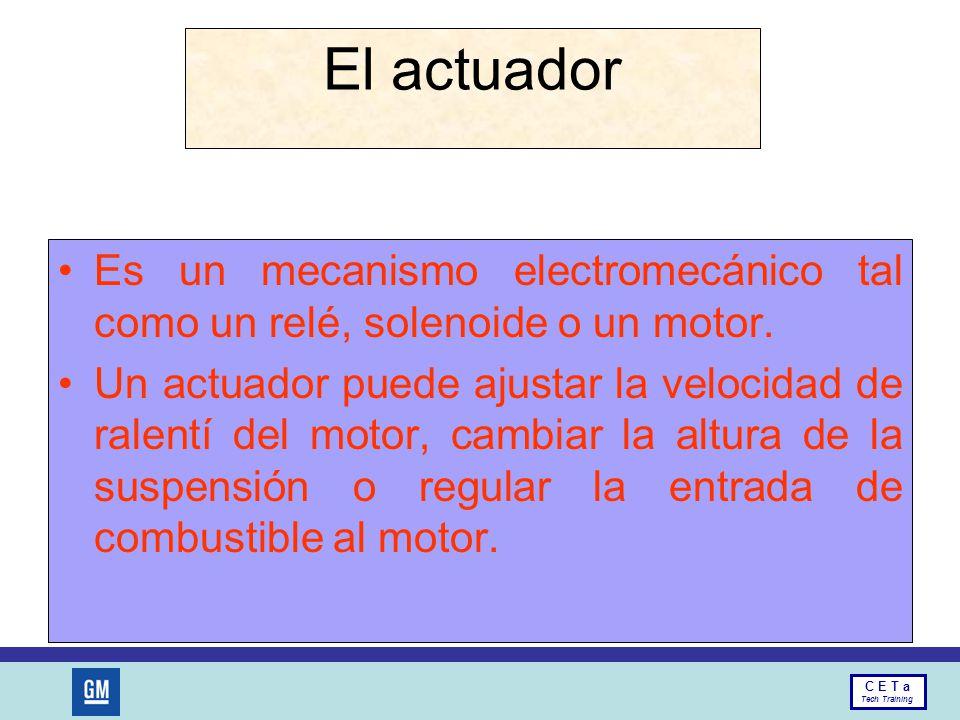 El actuador Es un mecanismo electromecánico tal como un relé, solenoide o un motor.