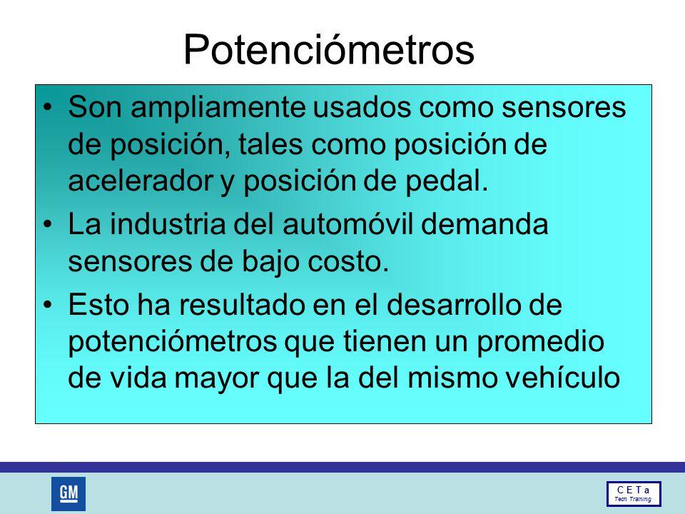 Potenciómetros Son ampliamente usados como sensores de posición, tales como posición de acelerador y posición de pedal.