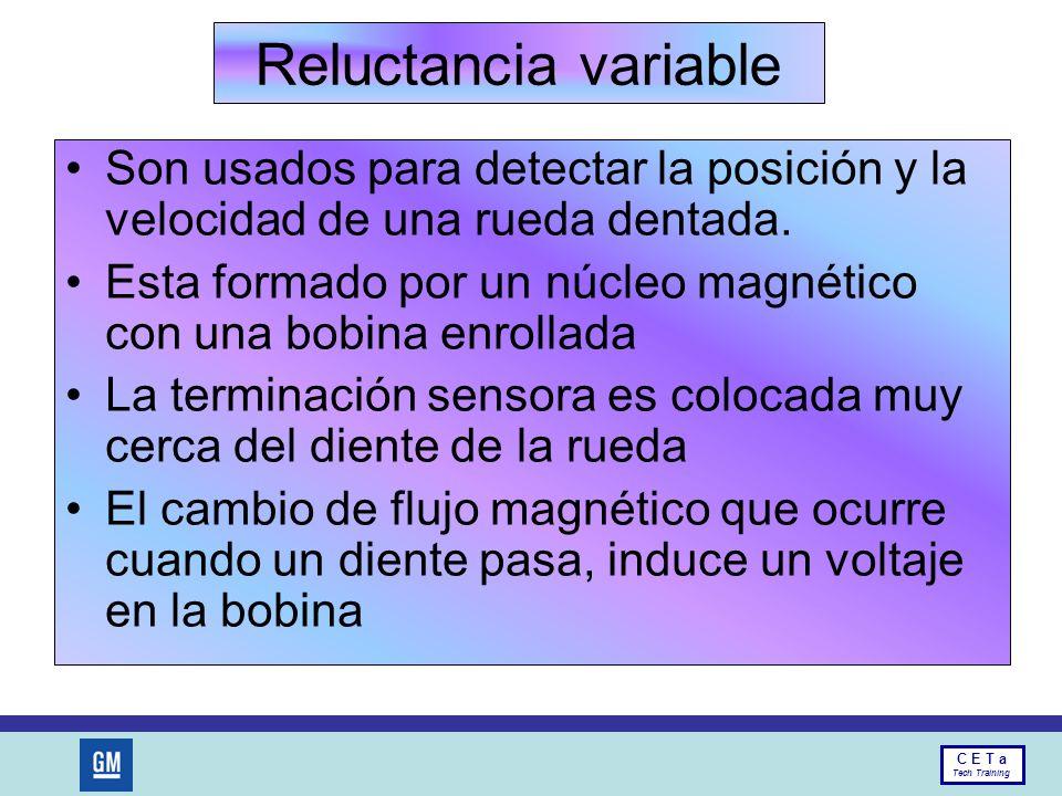 Reluctancia variable Son usados para detectar la posición y la velocidad de una rueda dentada.