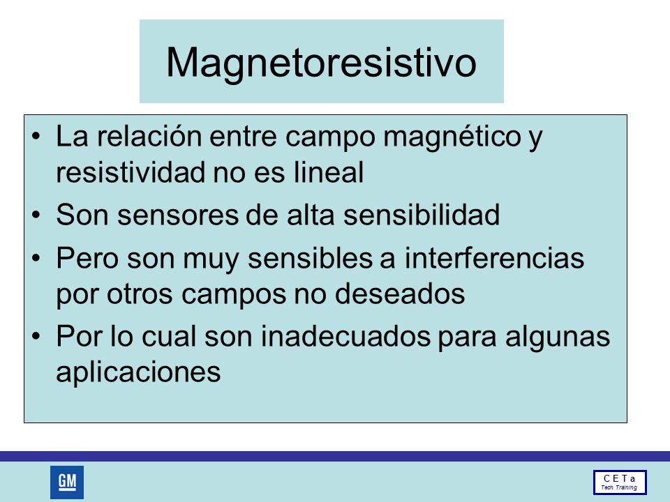 Magnetoresistivo La relación entre campo magnético y resistividad no es lineal. Son sensores de alta sensibilidad.